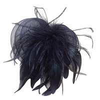 AM CLOTHES Fascinator Cocktail Hat with Headband and Netting (BLACK)