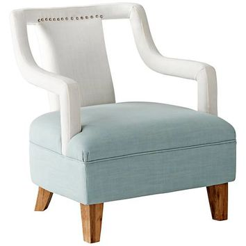 Cyan Design Wave Away Blue and White Linen Armchair - #23N01 | Lamps Plus