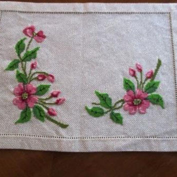 Flower tray cover  Finished cross stitch Free shipping Worldwide DMC handmade