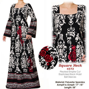 5007 Floral Ethnic Square Neck Islamic Muslim Abaya Long Bell Sleeves Maxi Dress - Plus Size 3X/4X