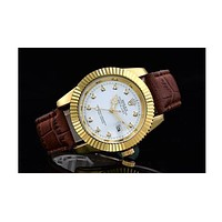 Rolex three-edged belt stylish gear case trend plate with a small drill F-SBHY-WSL Brown wristband + gold case + silver dial
