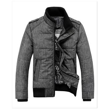 Men's winter quilted jacket warm fashion thermal puffer overcoat parka Outwear cotton padded coat stand collar clothing