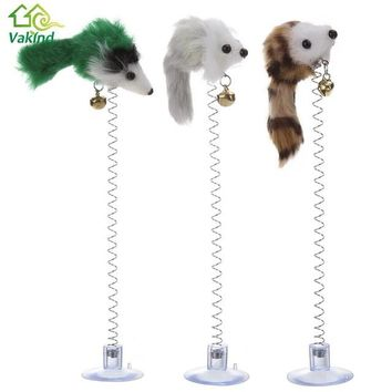 3Pcs Funny Cat Toys Elastic Feather False Mouse Bottom Sucker Toy for Cat Kitten Playing Pet Seat Scratch Toy Pet Cat Supplies