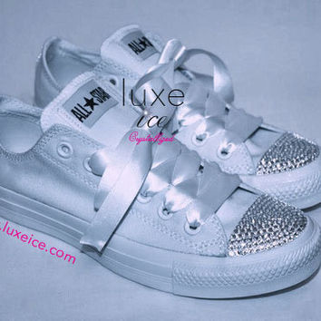Converse All Star Chucks Adult Sizes All White w CRYSTAL clear Swarovski  Elements 712f4285be46
