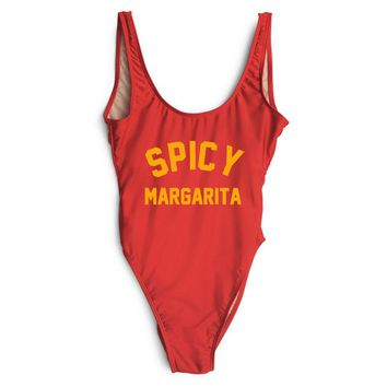 SPICY MARGARITA - Women's Funny Sexy One-Piece Thong Swimsuit