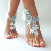 Free Ship blue ivory floral sandals country wedding beach wedding barefoot sandals floral bridesmaid gift unique foot accessory