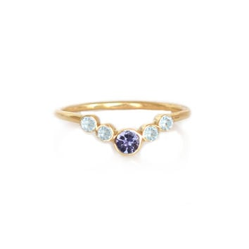 Tanzanite and Aquamarine Neu Arc Ring
