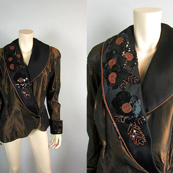 Vintage 80s New Wave Bronze and Black Satin Beaded Asymmetrical Tuxedo Jacket 1980s Dynasty Dallas Glam Bedazzled Cocktail Punk Emo