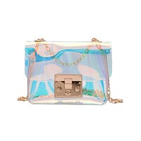 Women Transparent Bag Clear PVC Jelly Small Tote Messenger Bags Laser Holographic Shoulder Bags Female Lady Sac Femme Bandoulier