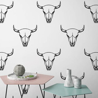Cow Skull Decal - Tribal Wall Decals, Skull Wall Stickers, Cow Skull Decor, Modern Wall Decals, Removable Wall Sticker