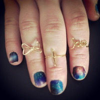 KNUCKLE RINGS-  bow, cross, love