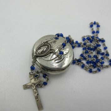 Antique Tiny Sterling Silver Rosary Locket Rare Religious