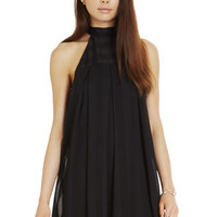 High-Neck Pleated Dress in Black - BCBGeneration
