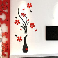Happy Gifts Living Room Bedroom Home Decorate DIY Vase Flower Tree Crystal Arcylic 3D Wall Stickers Decal Home Decor