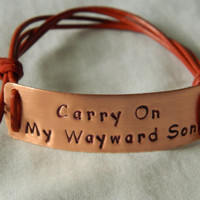Supernatural Inspired Handstamped Bracelet 'Carry by CopperyQuotes