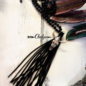Black Beaded Bull Skull Necklace w/ Suede Tassel