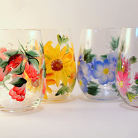 Hand Painted Floral Wine Glasses , Spring Flowers  Set of 4