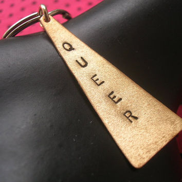 Queer Keychain--Lesbian, Gay Marriage, Stamped Brass Triangle Keychain, LGBT, Gay Pride, Metal Keychain