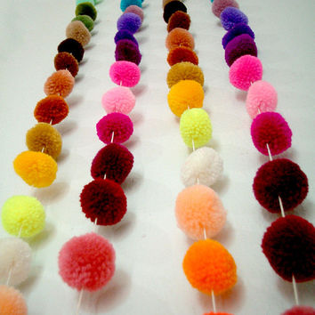 Pom Pom Garland, yarn pom pom garland, party, wedding, yarn ball, colorful, rainbow, mobile, carnival, decoration, iammie, 18 feet, 6 yards