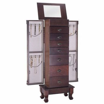 Costway Jewelry Cabinet Armoire Box Storage Chest Stand Organizer Necklace Wood - as pic