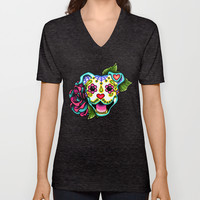 Day of the Dead Smiling Pit Bull Sugar Skull Dog Unisex V-Neck by Pretty In Ink | Society6