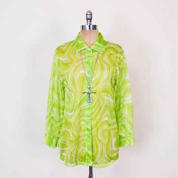 Optical Illusion Print Shirt Blouse Top Sheer Shirt Neon Green Shirt Oversize Shirt 90s Shirt 90s Grunge Shirt 90s Club Kid Shirt Rave S M