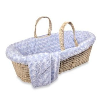 Tadpoles Twisted Fur Moses Basket Set in Blue