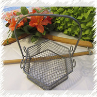 Vintage Unique and Unusual Six Sided Wire Basket - Collectible - Home Decor - Kitchen Decor - Bathroom Decor - Beautiful Gift Idea-Catch All