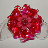 Valentine Red and Pink Magnet brooch for scarf, shawl, refrigerator, memo board, flower, recycled bottle