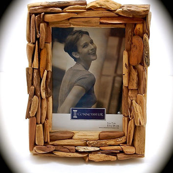 Handmade Driftwood Picture Frame for 5x7 Photos-Beach Decor-Coastal Decor-Reclaimed Wood-