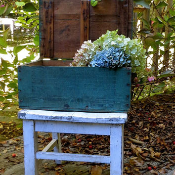 Vintage Wooden Crate, Green Box, Leather Hinges, Storage Chest, Toy Box, Shabby Rustic Primitive Decor