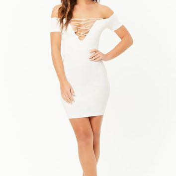 Ribbed Off-the-Shoulder Lace-Up Bodycon Dress