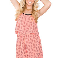 Daria Pineapple Dress - Coral