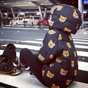 """Moschino"" Women Casual Cute Cartoon Bear Print Loose Long Sleeve Hooded Cotton-padded Clothes Tops"