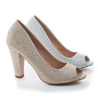 Andy13 by Blossom, Shimmering Peep Toe Slip On Chunky Heel Dress Pumps