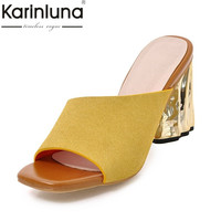 KARINLUNA New Big Size 33-43 Open Toe Slip On Women Shoes Sexy High Heeled Mules Woman Party Outdoor Pumps