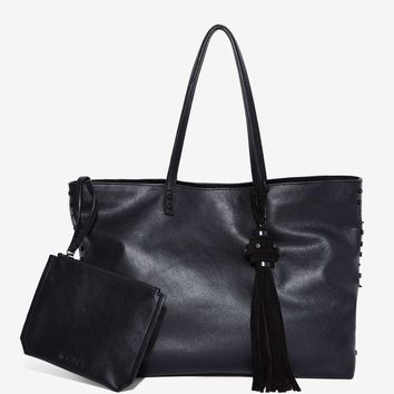 Nasty Gal Fuxury Leather Tote Bag - Jet