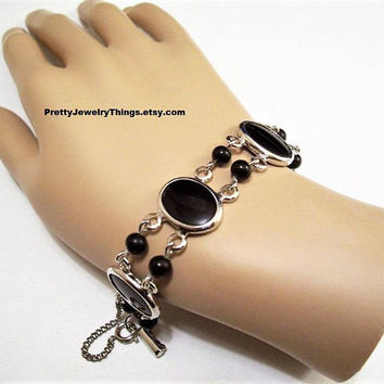 Judy Lee Black Oval Bead Bracelet Silver Vintage Double Link Chain Strands Round Onyx Accent Beads Security Curb Chain Spring Clasp Hangtag