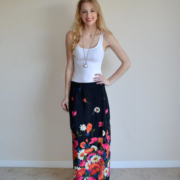 Vintage Flower Maxi Skirt Black Long Skirt Womens High Waist Skirt Rikki J New York Wrap Around Skirt Floral Daisy Skirt Summer Spring