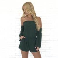 Feeling Good Romper In Emerald Green