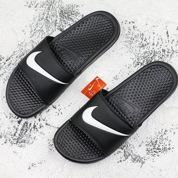 Nike Benassi Swoosh Classic Black White Slide Sandal Slipper - Best Deal Online