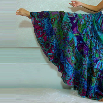 Patchwork Skirt / Gypsy Skirt / Tiered Ruffle Skirt - Boho Hippie Patchwork skirt - india cotton voile teal blue green peacock size S M L