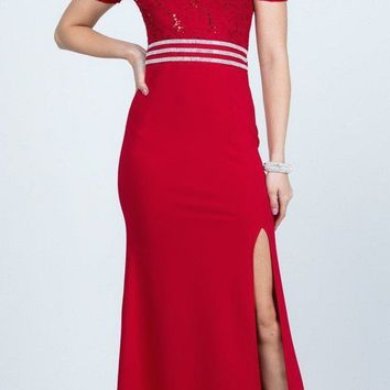 Full Length Off the Shoulder Red Lace and Crepe Dress With Slit