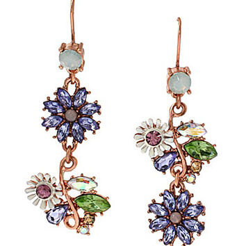 Betsey Johnson Faceted Bead Flower Mismatch Drop Earrings
