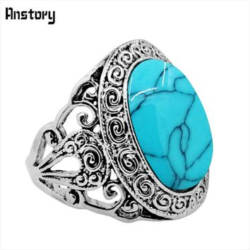 Oval Stone Snail Flower Rings For Women Vintage Look Antique Silver Plated Fashion Jewelry
