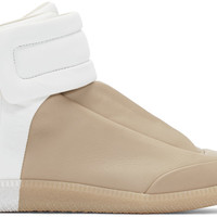 Tan & White Future High-Top Sneakers