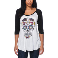 Empyre Girls Skull White & Black Baseball Tee Shirt at Zumiez : PDP