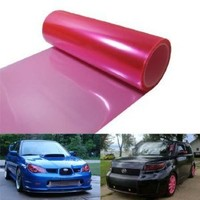 12 by 48 inches Self Adhesive Hot Pink Headlights, Tail Lights, Fog Lights, Sidemarkers Tint Vinyl Film
