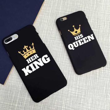 Cute Matching King and Queen Black Letter Case Matte Hard Cover  For iPhone 7 XR XS Max 6 6s plus SE 5 5s 8 8Plus X 10