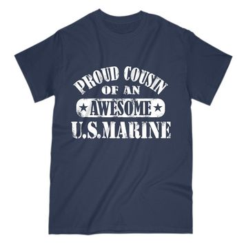 Gift For Cousin Of A US Marine Mens T Shirt Premium Cotton Tee